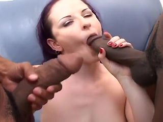 Slutty Brunette Caroline Takes Two Black Cocks