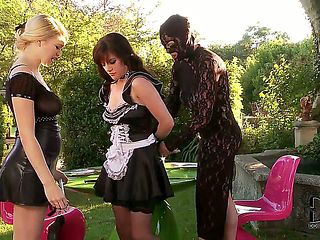 Elegant Tegan Jane and her kinky friend dressed head to toe in black lace costume decide to teach...
