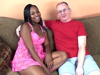 Old guy fucks hot ebony babe