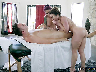 Brunette breathtaker Monique Alexander with giant knockers makes her dirty dreams a come true wit...