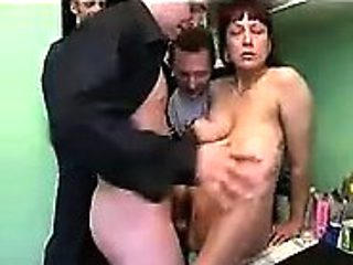 Sweet brunette with big boobs being nailed rough