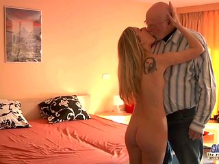 Young Secretary evaluation old man boss fucks beautiful girl
