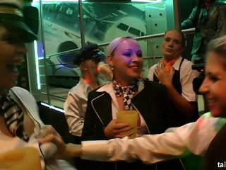 Good-looking babes in uniforms are drunk and want to do the sucking!