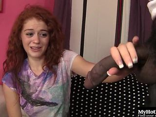 Sweet redhead Alice Green finally has a taste of the black cock