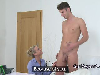 Beautiful female agent gets amateur dick