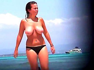 Huge tits mature college girl bikini beach topless spy compilation
