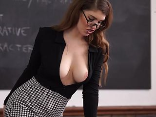 Teacher lets her tits fall out in class