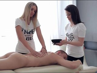 Hottest massage scene ever with two girls rubbing him