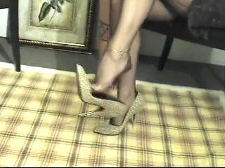 Foot tease in brown stockings 1