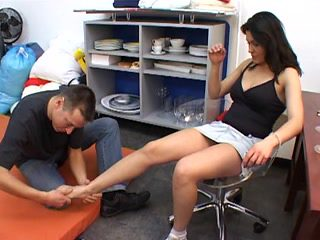 Mistress gets feet worshipped by a submissive slave