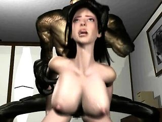 3D Alien Monster Bangs a Busty Girl!