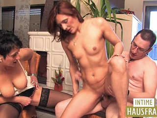 Threesome with a beautiful milf