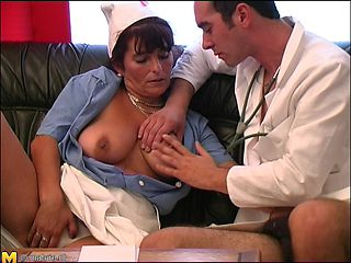 Cute matured nurse enjoying doctor fingering her pussy