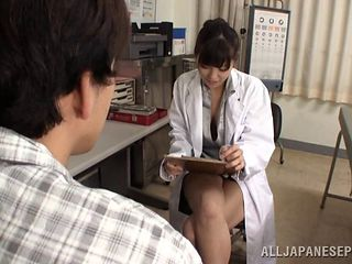 Arousing Asian nurse having a great time with the patient's cock