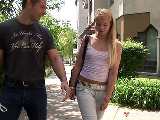 She meets a new guy, makes out with him and fucks him