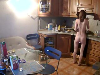 Naked breakfast in a rented apartment