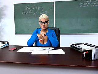 Huge tits latina teacher jerks and fucks one of her students