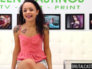 Curly Haired Slut Pounded Hard At A Brutal Casting