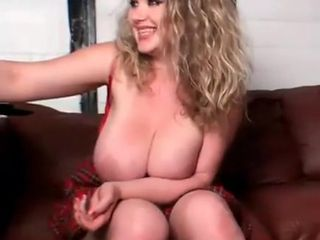 Beautiful blonde dumped large breasts and talks (2)