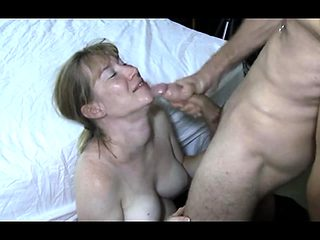 Partner sucks on large bull while husband movies