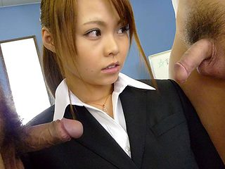 Saki in Former porn star Saki's cover is blown so she is filled up with cum - AviDolz