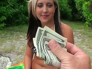 Josh and Madison Minx are fucking on the beach after paying her some cash