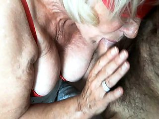 BLONDE GRANNY IN UNDERWEAR PERFORMING THE COMPANY