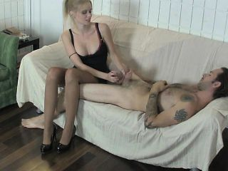 Seductive blonde Vanessa Vixon pleases Kyle's big cock with her hands