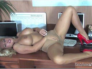 Milf rubs her pussy on office desk