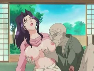 Anime cutie gives old man a hot blowjob