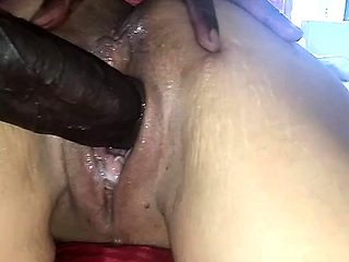 Amy Anderssen taking a big cock in her oiled up pussy