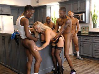 Provocative blonde mama seduces my big black cock friends