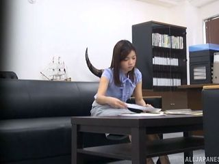 Brunette from Japan accepts to get penetrated right there in office