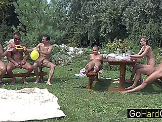Colette Garden Party Part 3;pornstar,group,hardcore,threesomes,blowjob,blonde,callage,student