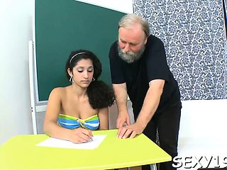 Darling is delighting elderly teacher with blowjob engulfing