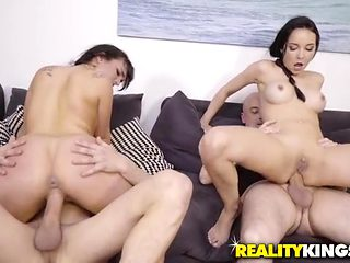 Whores give up their holes in a Euro foursome