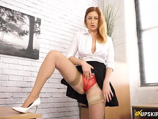 Seamed stockings make her upskirt flashing hotter
