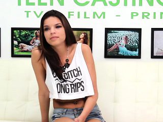 Brunette Teen Ariana Has A Rough Casting