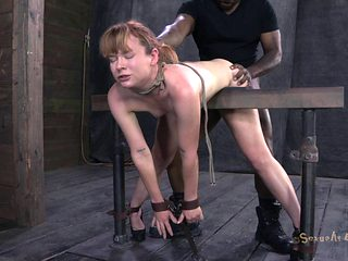 Two fellows take turn in plowing a redhead's moist holes