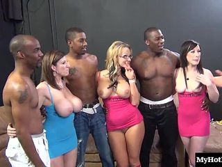 Three hot sluts and three hung black studs bang like rabbits