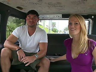 Handsome fellow tries to seduce this beautiful blonde chick Alli May to have sex in a bus for som...