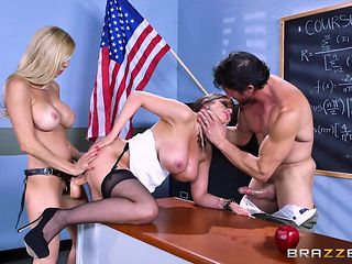 mff threesome in classroom
