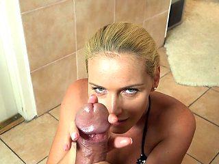 Hot sister best handjob and cumshot