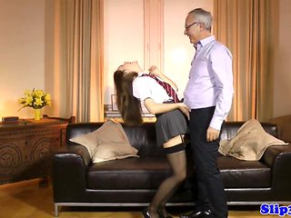 Schoolgirl amateur doggystyled by old man