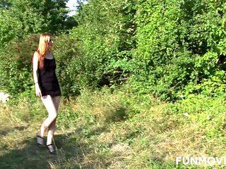 Skinny Austrian Redhead Teen in Public Park
