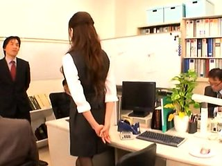 Shy babe enchants her lewd mature colleague in the office