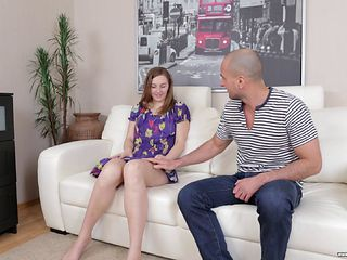 Bald guy gladly gives Irina the pussy hammering that she wanted