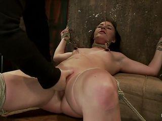 Brutal cunt flogging, nipple torment & finger fucking till she squirts w/multiple screaming orgasms!