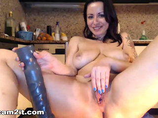 Big Natural Tits Brunette Milf Inserts Huge Dildos In Pussy And Ass