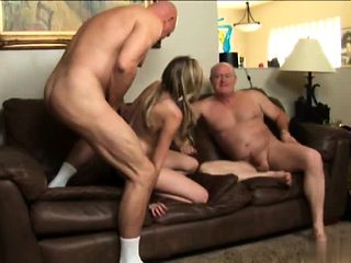 Father and son fuck blondie slut